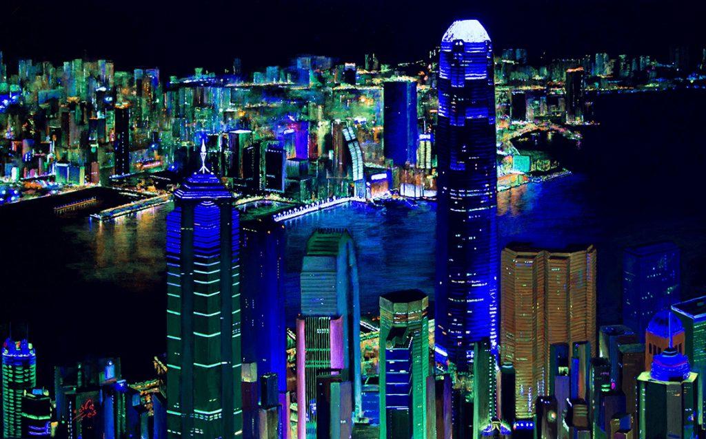 Vicky-Casellas.-Bahía-de-Hong-Kong.-Acrílico-sobre-lienzo.-80-x-1.30-cm.-Clases-de-pintura-con-técnicas-fluorescentes