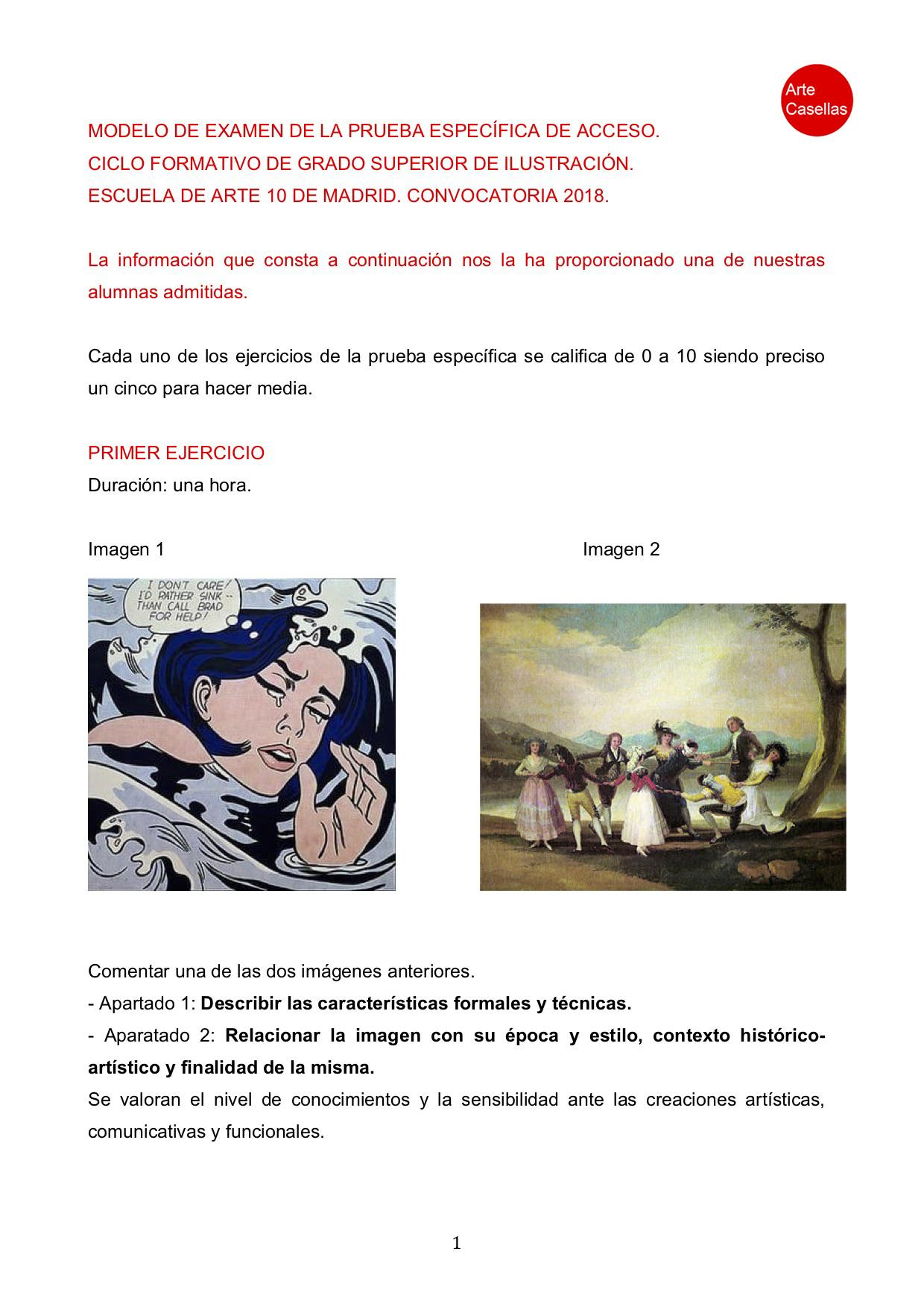 Arte Casellas. Modelo examen prueba específca Arte Diez Ilustración 2018. Clases preparación. Presencial. Online