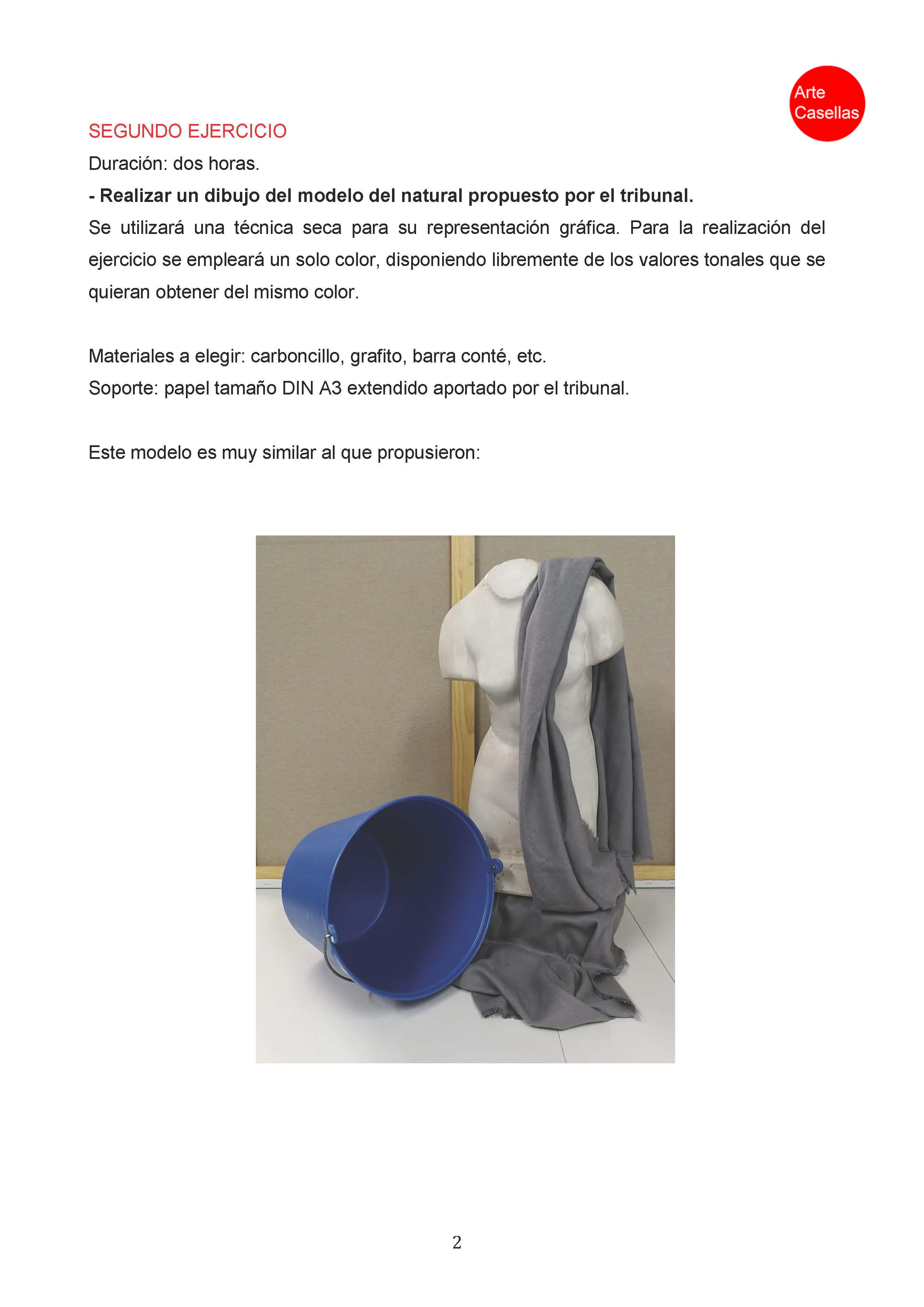 Arte Casellas. Modelo examen prueba específca Arte Diez Ilustración 2018. Clases preparación. Presencial. Online 2