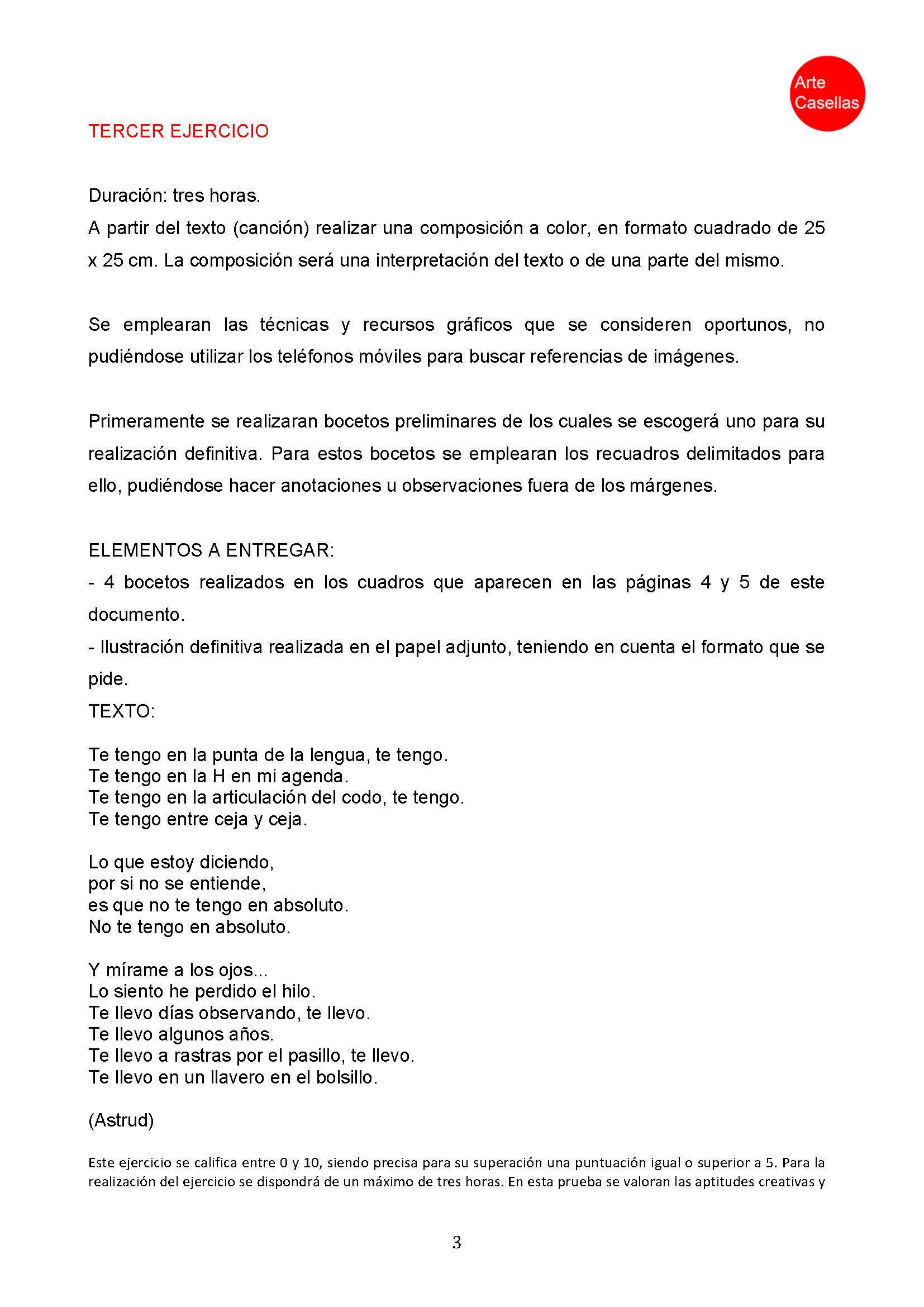 Arte Casellas. Modelo examen prueba específca Arte Diez Ilustración 2018. Clases preparación. Presencial. Online 3